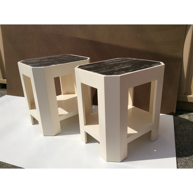 Black Marble Top Side Tables - A Pair - Image 4 of 11