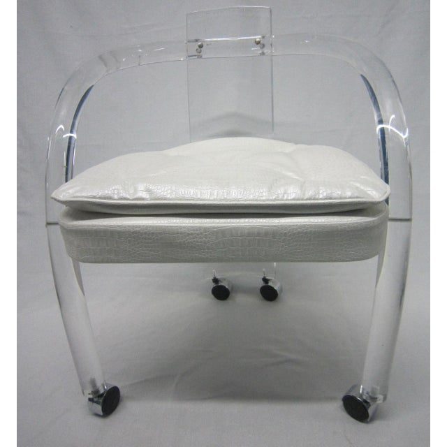 Vintage White Upholstery Lucite Chair - Image 7 of 7