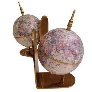 Globe Bookends with Brass Details