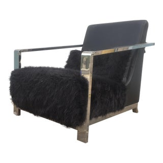 Faux Fur Leather & Chrome Lounge Chair