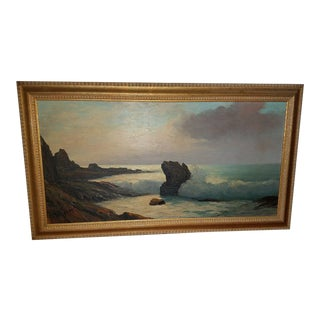 Vintage Beach Seascape Painting