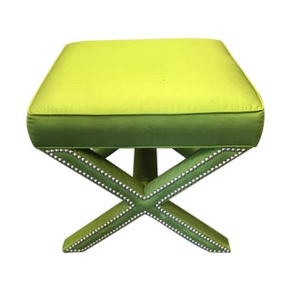Lee Industries Green Silk X Ottoman