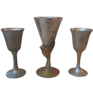 Godinger Brass & Silver Goblets  - Set of 3