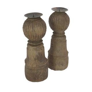 Vintage Wooden Bed Leg Candleholders - Set of 2