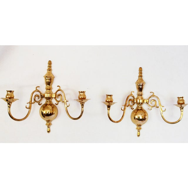 Image of Vintage Solid Brass Candle Wall Sconces - Pair