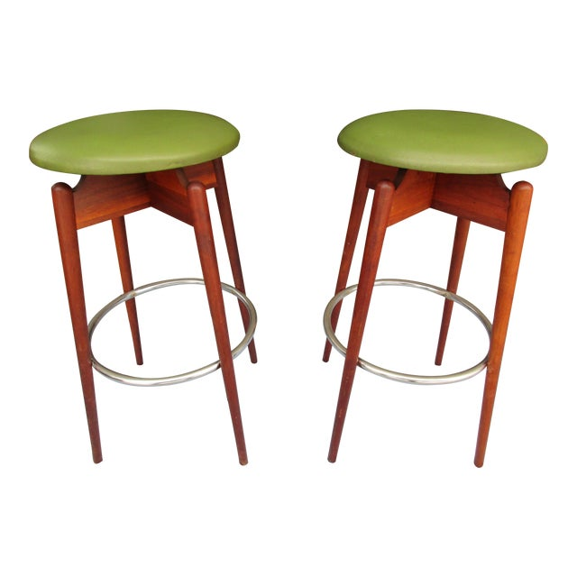 Danish Modern Floating Top Bar Stools - A Pair - Image 1 of 10