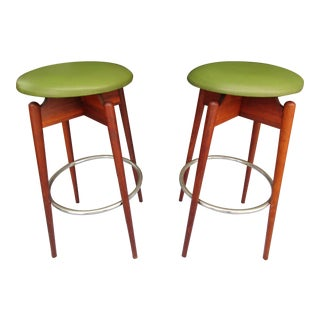 Danish Modern Floating Top Bar Stools - A Pair