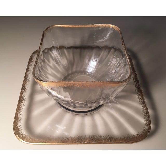 Image of Antique Square Gilt Crystal Dessert Bowls - S/8