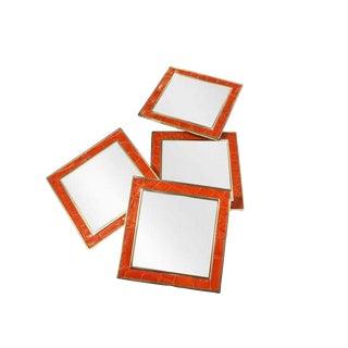 Orange Crocodile Leather Mirrored Coasters - Set of 4