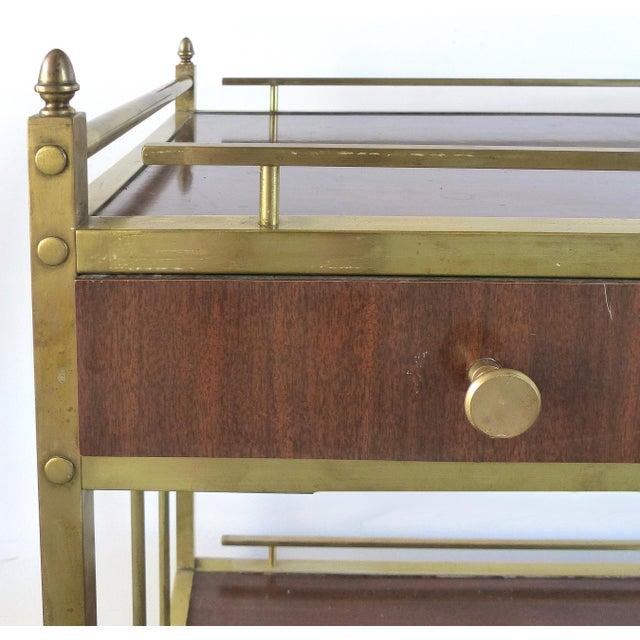 Bi-Level Brass Rolling Bar Trolley W/ Wood Accents - Image 8 of 10
