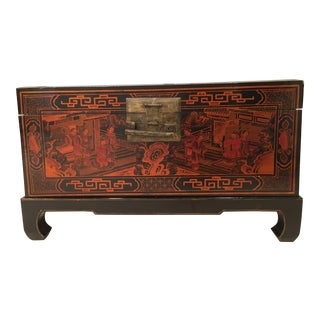 Vintage Lacquer Chinese Chinoiserie Trunk
