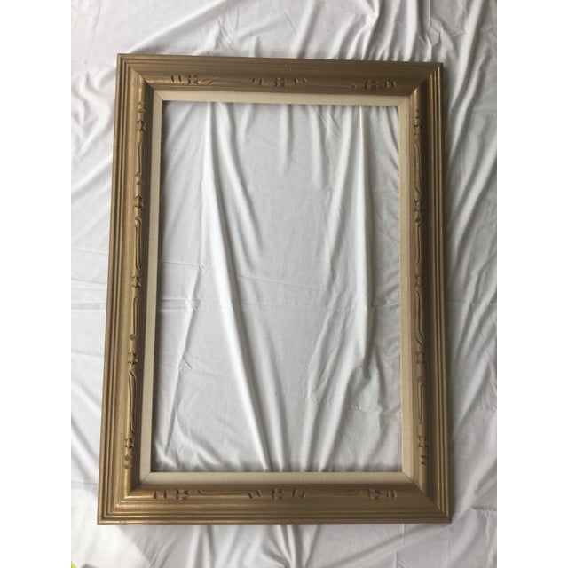 Large Mid-Century Gold Carved Gold Wood Frame - Image 5 of 11