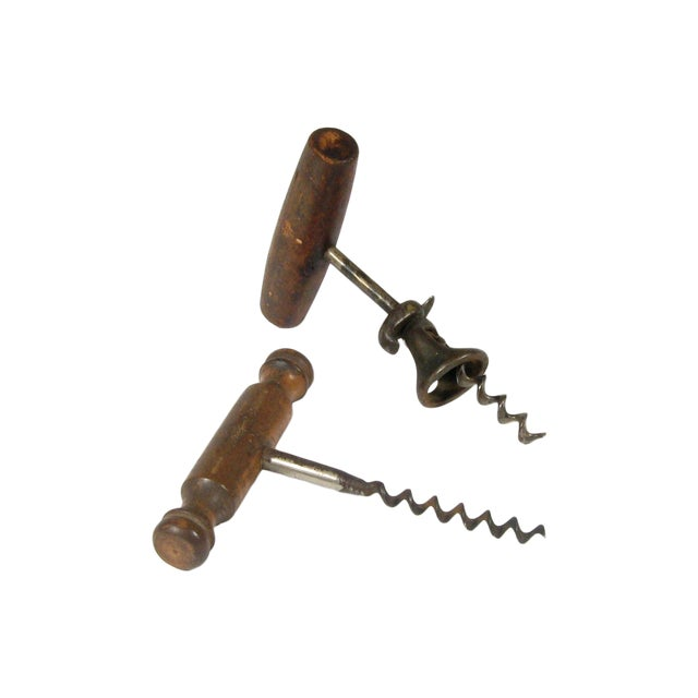 Image of Antique Wood & Steel Corkscrews - A Pair