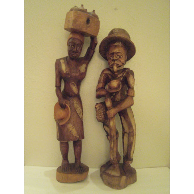 Vintage Wooden Carved Figures - Pair - Image 2 of 11