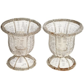 Vintage French Wire Votive Candle Holders - Pair