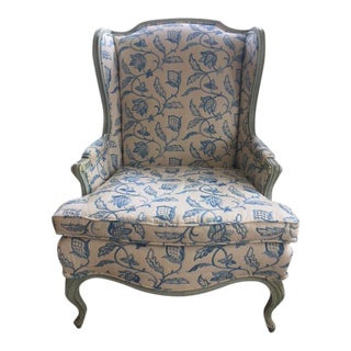 Blue Crewel Wingback Chair