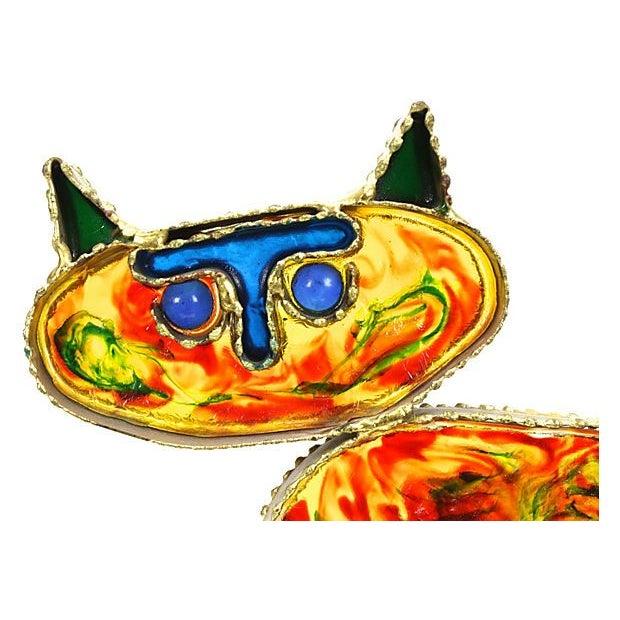 Image of 1967 Curtis Jeré Cat with Fish Sculpture