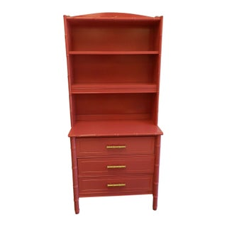 Fuchsia Pink Bamboo Chest with Bookcase Top