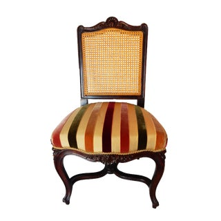French Cane & Velvet Side Chair