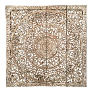 Burmese White Teak Wood Carved Lotus Panel Wall Hanging