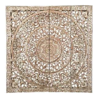 Burmese White Teak Wood Carved Lotus Panel Wall Hanging