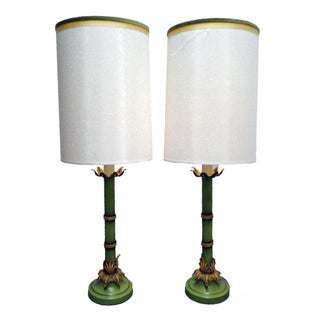Vintage Hollywood Regency Green & Gold Lamps - A Pair