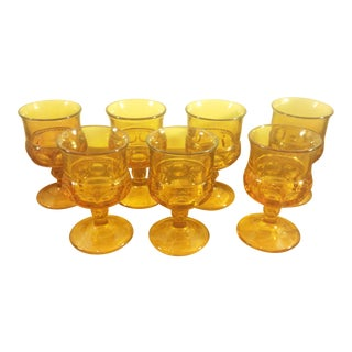 Vintage Indiana Glass Amber King's Crown Thumbprint Footed Goblets- Set of 7