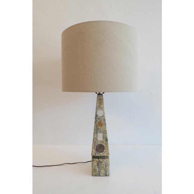 Vintage Stone Inlay Table Lamp - Image 2 of 6