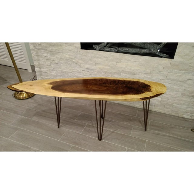 Live Edge Walnut Coffee Table with Hairpin Legs - Image 2 of 5