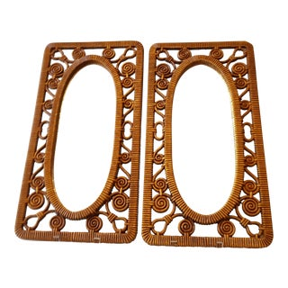 Mid-Century Syroco Faux Wicker Wall Mirrors - A Pair