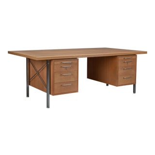 Hans Wegner for Johannes Hansen Oak and Steel Desk