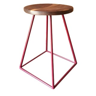 Walnut & Red-Painted Steel Stool