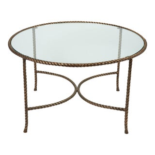 Italian Round Solid Bronze 'Rope & Tassle' Cocktail Table
