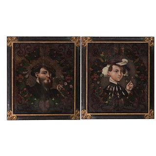 Antique Oil Wedding Portraits - a Pair