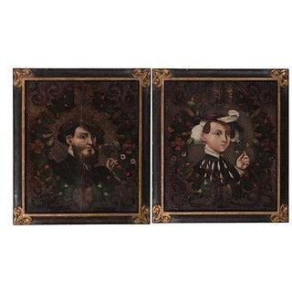 Antique Oil Wedding Portraits - a Pair