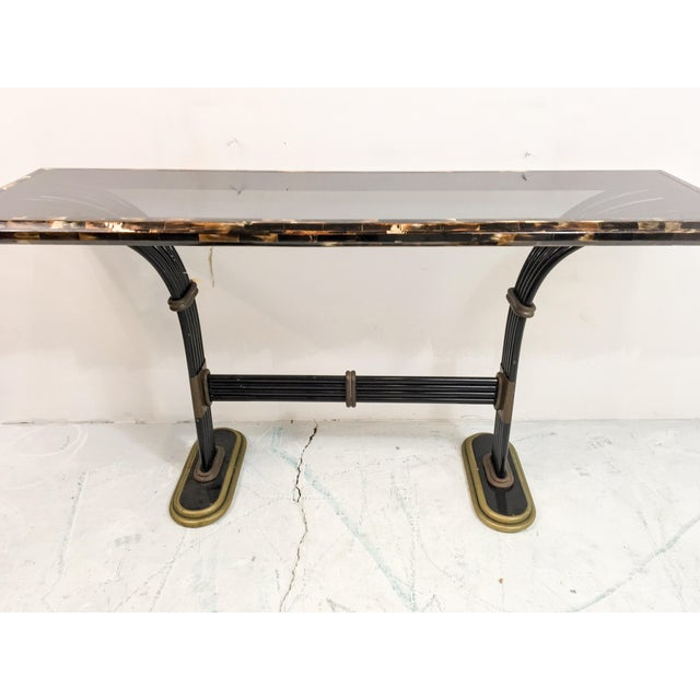 Maitland Smith Horn & Brass Console Table - Image 7 of 8