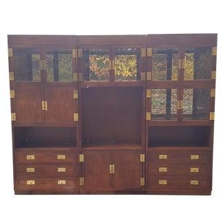 Henredon Campaign Illuminated Cabinets - Set of 3