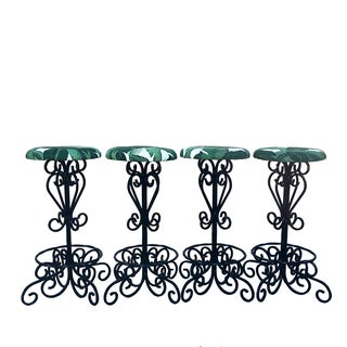 Vintage Wrought Iron Counter Stools - Set of 4
