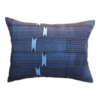 Vintage African Indigo Pillow W/ Embroidered Accents