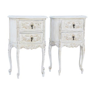 Pair of Carved and Painted Louis XV Night Table Commodes with Mirrored Tops