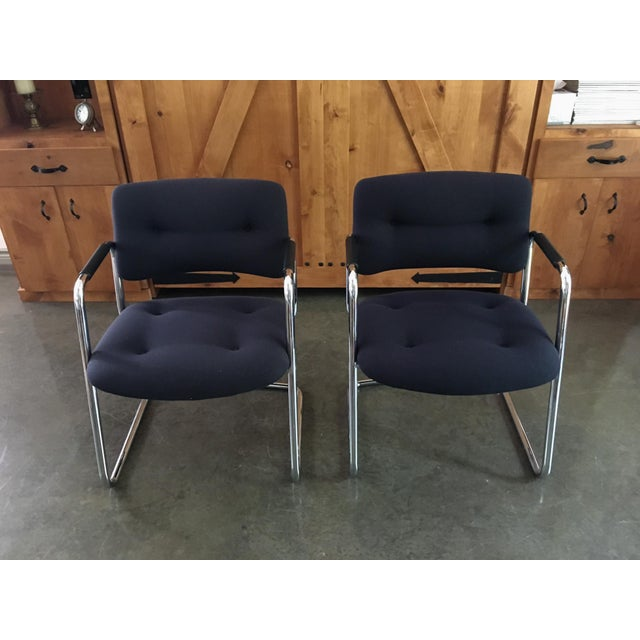 Mid-Century Cantilever Chrome Armchairs - A Pair - Image 8 of 9