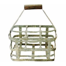 Image of Antique French Zinc 6-Bottle Carrier
