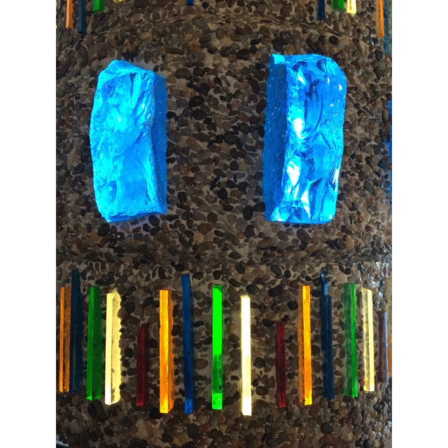 Image of 1960s Pebble-Finish Stained Glass Pendant