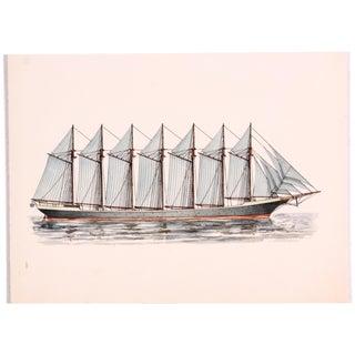 Thomas W. Lawson Ship Ink Drawing
