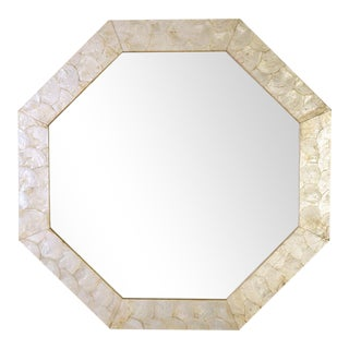 Modern Octagonal Mirror with Sea Shell Frame