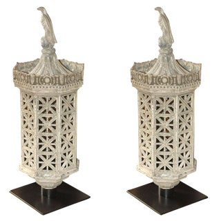 Large Cast Iron Lanterns - A Pair