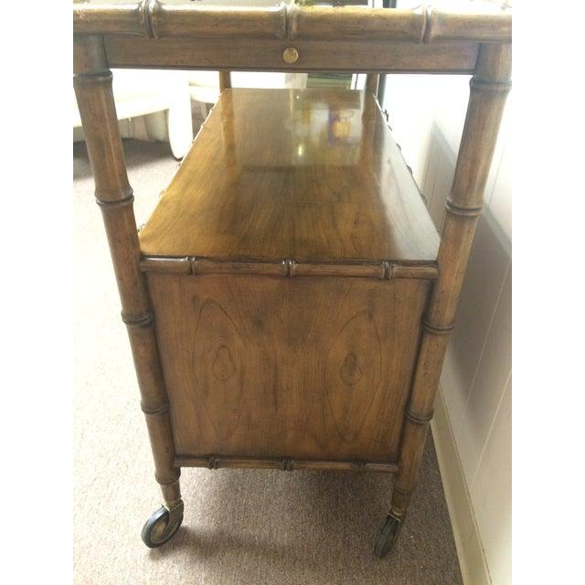 Image of Vintage Wood Faux Bamboo Bar Cart
