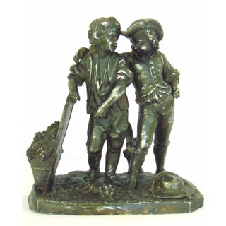 Vintage Spelter Sculpture of Two Boys Picking Grapes