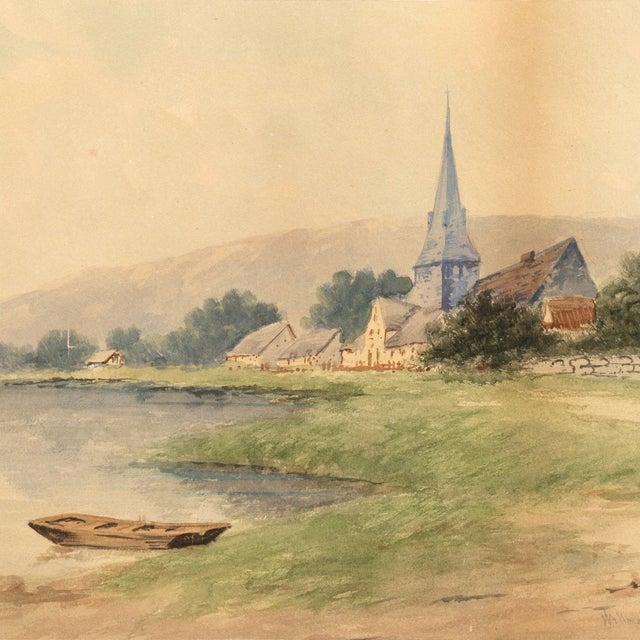 Lakeside Village Watercolor, Circa 1900 - Image 2 of 6