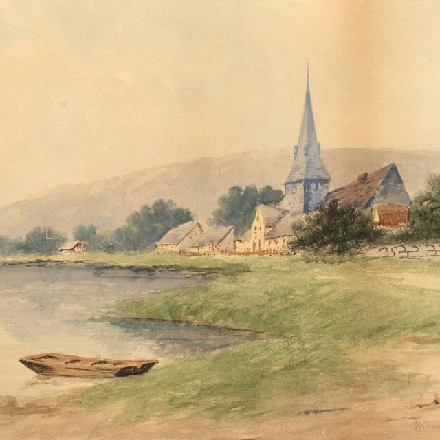 Image of Lakeside Village Watercolor, Circa 1900